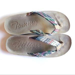 Tommy Hilfiger plaid flip flops